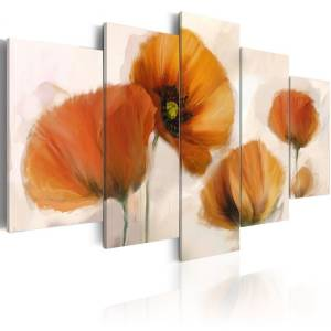 Πίνακας - Artistic poppies - 5 pieces - 200x100
