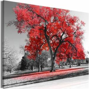 Πίνακας - Autumn in the Park (1 Part) Wide Red - 90x60