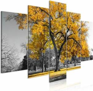 Πίνακας - Autumn in the Park (5 Parts) Wide Gold - 200x100