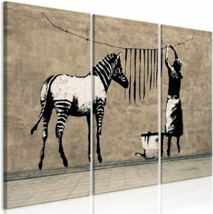 Πίνακας - Banksy: Washing Zebra on Concrete (3 Parts) - 120x80