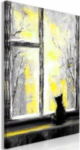 Πίνακας - Longing Kitty (1 Part) Vertical Yellow - 60x90