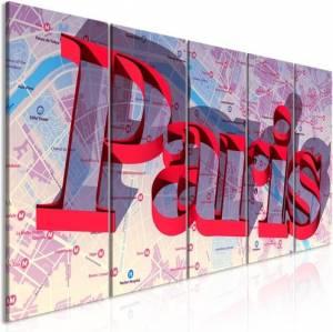 Πίνακας - Red Paris (5 Parts) Narrow - 225x90