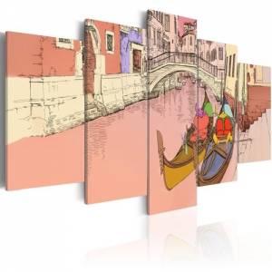 Πίνακας - Romantic gondolas - 5 pieces - 200x100