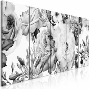 Πίνακας - Rose Composition (5 Parts) Narrow Black and White - 225x90