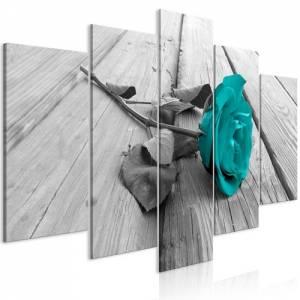 Πίνακας - Rose on Wood (5 Parts) Wide Turquoise - 200x100