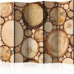 Διαχωριστικό με 5 τμήματα - Wood grains II [Room Dividers]