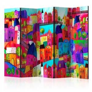 Διαχωριστικό με 5 τμήματα - Rainbow-hued town II [Room Dividers]