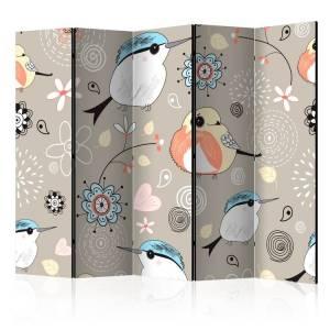 Διαχωριστικό με 5 τμήματα - Natural pattern with birds II [Room Dividers]
