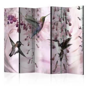 Διαχωριστικό με 5 τμήματα - Flying Hummingbirds (Pink) II [Room Dividers]
