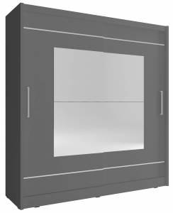 Ντουλάπα Walla συρόμενη-200 x 62 x 214 εκ.-Γκρι