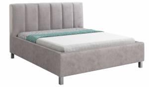 Επενδυμένο κρεβάτι Lingo-140 x 200-Gkri-Χωρίς μηχανισμό ανύψωσης