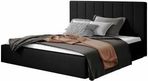 Επενδυμένο κρεβάτι Dobrik-140 x 200-Μαύρο-Χωρίς μηχανισμό ανύψωσης