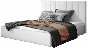 Επενδυμένο κρεβάτι Dobrik-160 x 200-Λευκό-Με μηχανισμό ανύψωσης