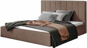 Επενδυμένο κρεβάτι Dobrik-160 x 200-Καφέ-Χωρίς μηχανισμό ανύψωσης