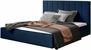 Επενδυμένο κρεβάτι Dobrik-160 x 200-Μπλέ-Χωρίς μηχανισμό ανύψωσης