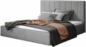 Επενδυμένο κρεβάτι Dobrik-200 x 200-Γκρι-Με μηχανισμό ανύψωσης