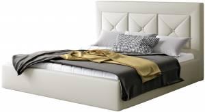 Επενδυμένο κρεβάτι Bisovar-140 x 200-Λευκό-Με μηχανισμό ανύψωσης