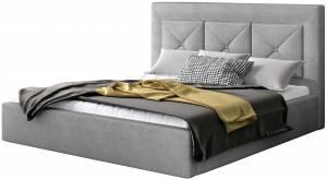 Επενδυμένο κρεβάτι Bisovar-140 x 200-Γκρι-Χωρίς μηχανισμό ανύψωσης