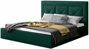 Επενδυμένο κρεβάτι Bisovar-140 x 200-Πράσινο-Με μηχανισμό ανύψωσης