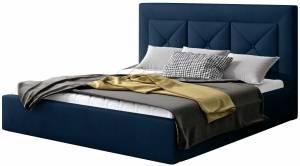 Επενδυμένο κρεβάτι Bisovar-160 x 200-Μπλέ-Με μηχανισμό ανύψωσης