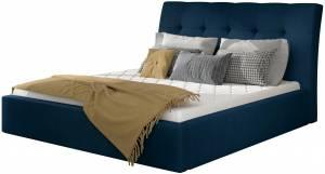Επενδυμένο κρεβάτι Vibrani-160 x 200-Μπλέ-Με μηχανισμό ανύψωσης
