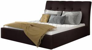 Επενδυμένο κρεβάτι Vibrani-180 x 200-Μαύρο-Χωρίς μηχανισμό ανύψωσης