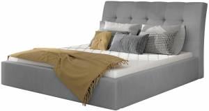 Επενδυμένο κρεβάτι Vibrani-200 x 200-Γκρι-Χωρίς μηχανισμό ανύψωσης