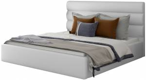 Επενδυμένο κρεβάτι Volcito-140 x 200-Λευκό-Χωρίς μηχανισμό ανύψωσης