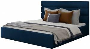 Επενδυμένο κρεβάτι Volcito-140 x 200-Μπλέ-Χωρίς μηχανισμό ανύψωσης