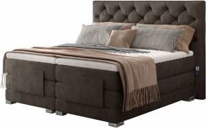 Επενδυμένο κρεβάτι Clover με στρώμα και ανώστρωμα-Kafe-140 x 200