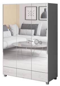 Ντουλάπα Glass τρίφυλλη-Γκρι