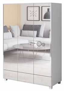 Ντουλάπα Glass τρίφυλλη-Λευκό