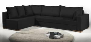 Γωνιακός καναπές Trendy-Δεξιά-285φ 185β εκ.-Μαύρο