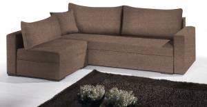 Γωνιακός καναπές Kleio-195φ 140β-Σοκολατί