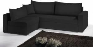 Γωνιακός καναπές Kleio-215φ 160β-Μαύρο