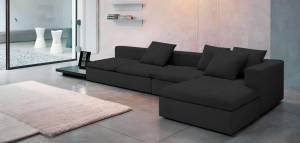 Γωνιακός καναπές Lory-280φ 135β εκ.-Μαύρο