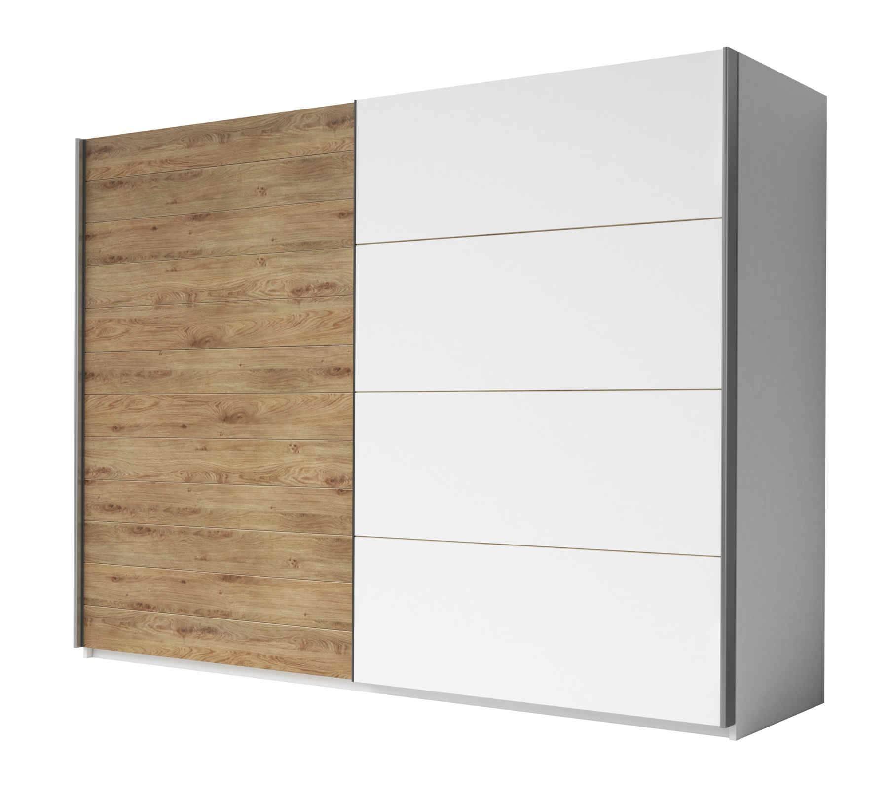 Ντουλάπα Συρόμενη Kappa-270 x 61 x 210 εκ.-Λευκό - Φυσικό