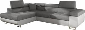 Γωνιακός καναπές Antony-Αριστερή-Λευκό - Γκρι