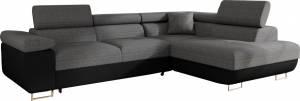 Γωνιακός καναπές Antony-Δεξιά-Μαύρο - Γκρι
