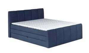 Επενδυμένο κρεβάτι Frezy με στρώμα και ανώστρωμα-Μπλε Σκούρο-160 x 200