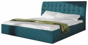 Επενδυμένο κρεβάτι Serino-Πετρόλ-160 x 200