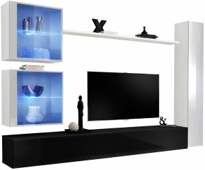 Σύνθετο σαλονιού Swiss XVIII-Λευκό - Μαύρο