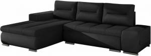 Γωνιακός καναπές Otto-Μαύρο-Αριστερή