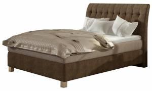 Επενδυμένο κρεβάτι Harp με στρώμα και ανώστρωμα-120 x 200-Καφέ