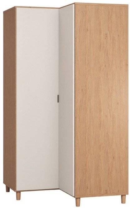 Ντουλάπα Simple γωνιακή-Φυσικό - Λευκό