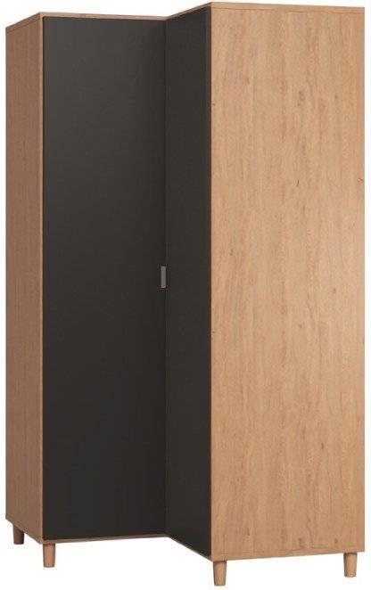 Ντουλάπα Simple γωνιακή-Φυσικό - Μαύρο