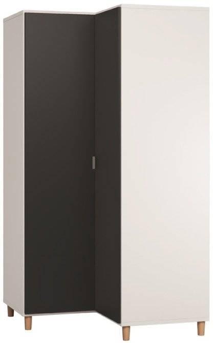 Ντουλάπα Simple γωνιακή-Λευκό - Μαύρο