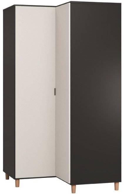 Ντουλάπα Simple γωνιακή-Μαύρο - Λευκό