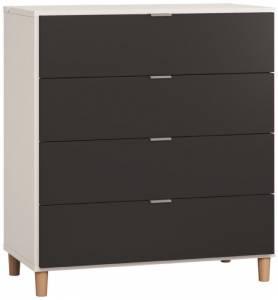 Συρταριέρα Simple-Λευκό - Μαύρο