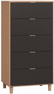 Συρταριέρα Simple ψηλή-Φυσικό - Μαύρο